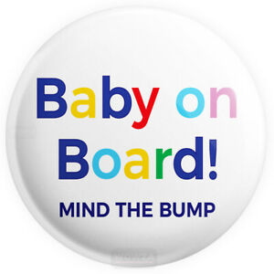 Baby-on-Board-Badge-LARGE-45mm-1-7-INCH-Colourful-Pregnant-Mum-Baby-Button-Pin