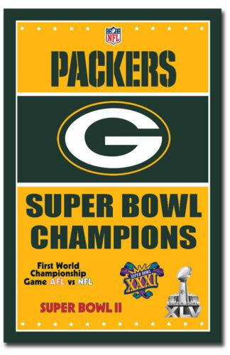 "4 x Super Bowl Champions Green Bay Packers Fridge Magnet Size 2.5/"" x 3.7/"""