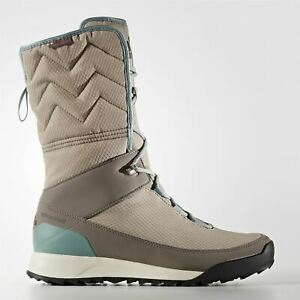 the sale of shoes online store the cheapest Details zu Adidas Climawarm Choleah Climaproof Hohe Stiefel Damen Grau/Grün  Winterschuhe