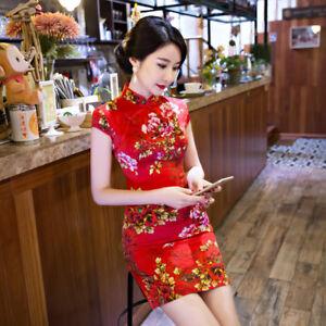 d00f31d32 Women's Red Cheongsam Wedding Bride Dress Chinese QiPao Evening ...