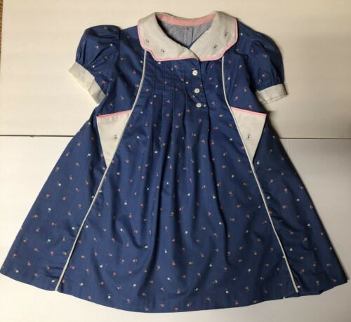 40's Vintage Hand-Made Antique Girl Farm Dress Blu