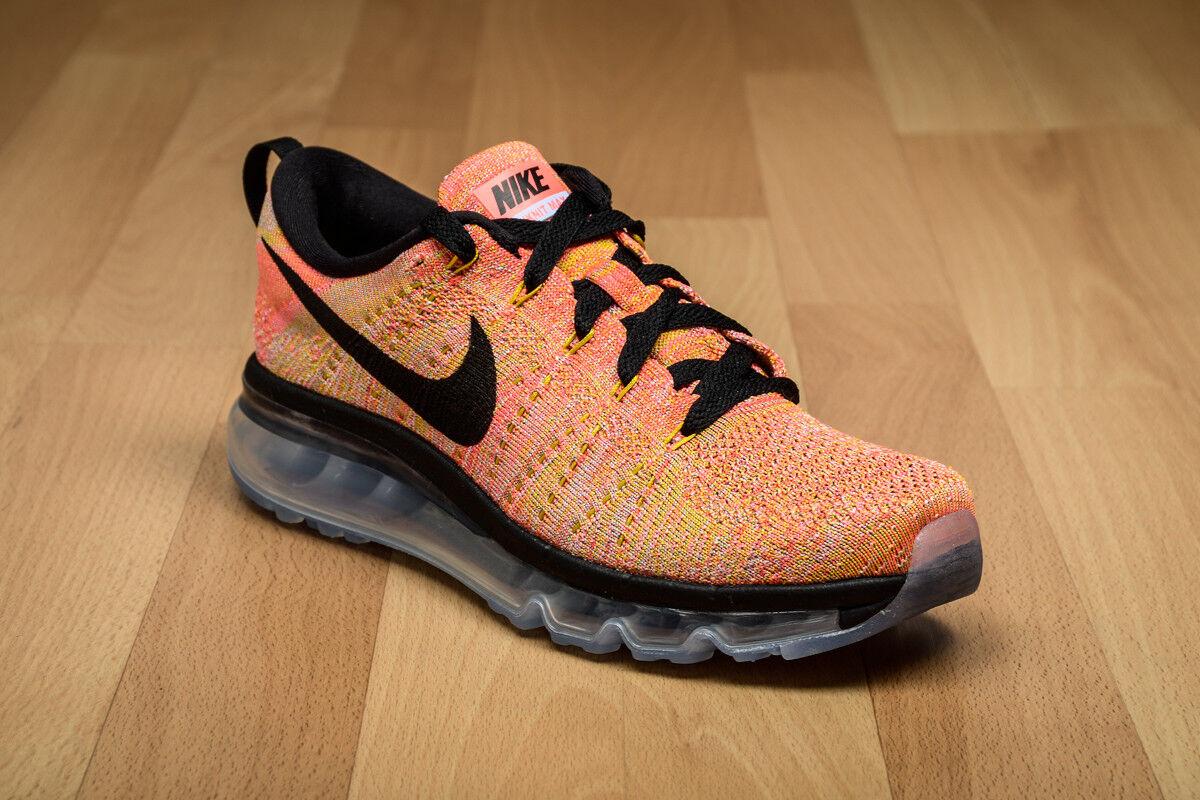 Women's Nike Flyknit Max Running Shoe Size 10.5 (620659-406) HOT PUNCH/BLACK