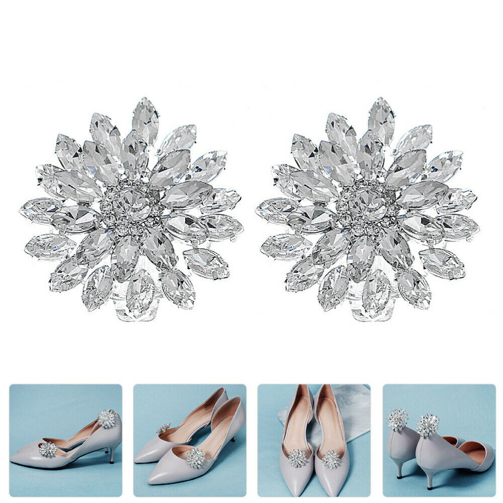 1 Pair Clips Shiny Fashion Rhinestone Dress Shoes Buckles Shoes Clips for Party