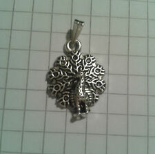 "TIBETAN SILVER PENDANT PEACOCK BIRD  SILVER PLD 18""or20""CHAIN NECKLACE"