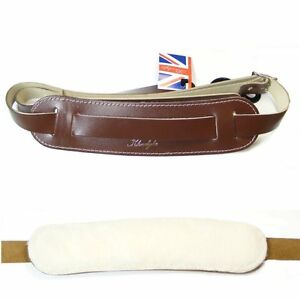 Klondyke-039-50s-style-Leather-strap-with-sheepskin-backing-pad-Brown-5011