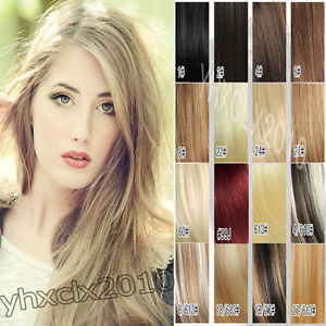 aaa full head top quality clip in human hair extensions
