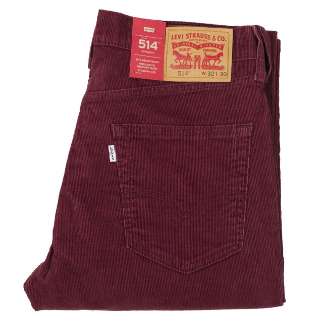 97cc0ff5 Levis Jeans 514 Corduroy Pants Stretch Straight Below Waist Merlot Wine  Regular 33 30
