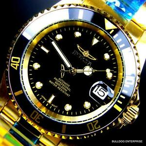 Mens Invicta Pro Diver 18kt Gold Plated Black NH35A Automatic Watch Warranty New