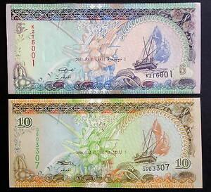 MALDIVAS-Billetes-5-amp-10-rufiya-2006-11-S-C-MALDIVES-Banknotes-set-UNC