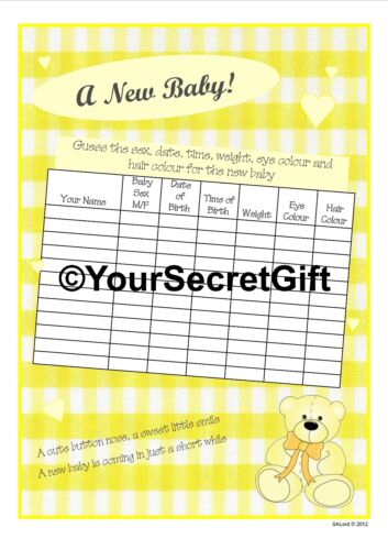 2x Guess the Sex//Weight//Date//Time//Eyes//Hair sheets A New Baby Shower Game