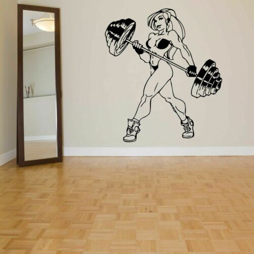 Wall Decal Sticker Bedroom fitness girl crossfit gym muscles strong power bo2813
