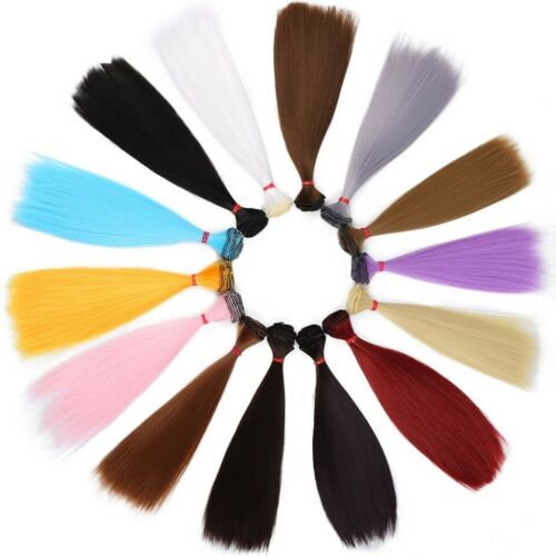 Doll Hair Wig Straight 25cm Long Colorful For BJD Dolls 1//3 Blond Brown Black