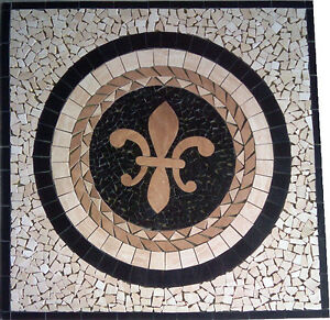 Image Is Loading Floor Marble Medallion Fleur De Lis Travertine Square
