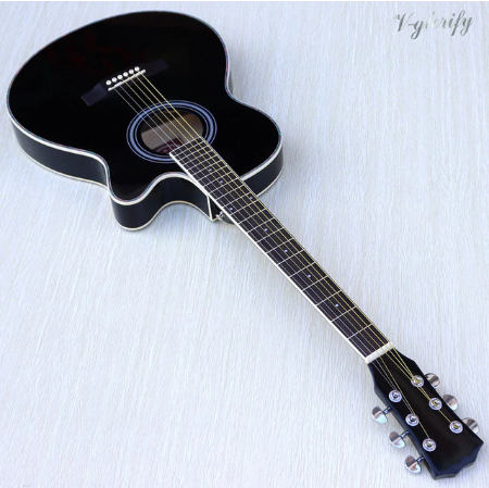 Acoustic wood electric guitar with bag case wooden strings begginer for kids