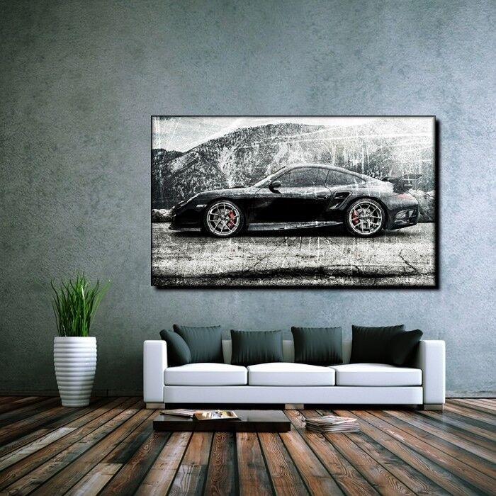 LEINWAND BILD ER XXL POP ART GRAFFITI PORSCHE 911 AUTO ABSTRAKT POSTER 90x150