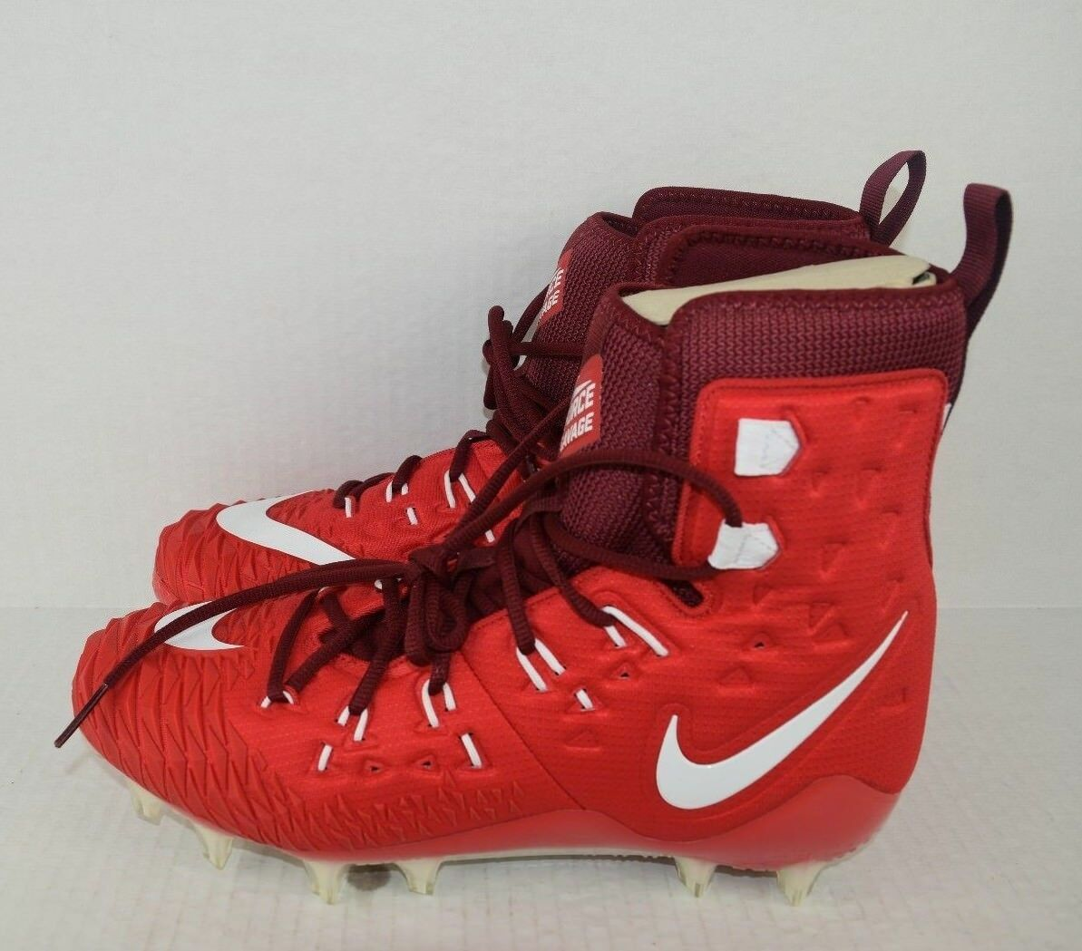 NIKE Force Savage Elite TD Men's Football Cleats 857063-616 Size 10.5 Red White