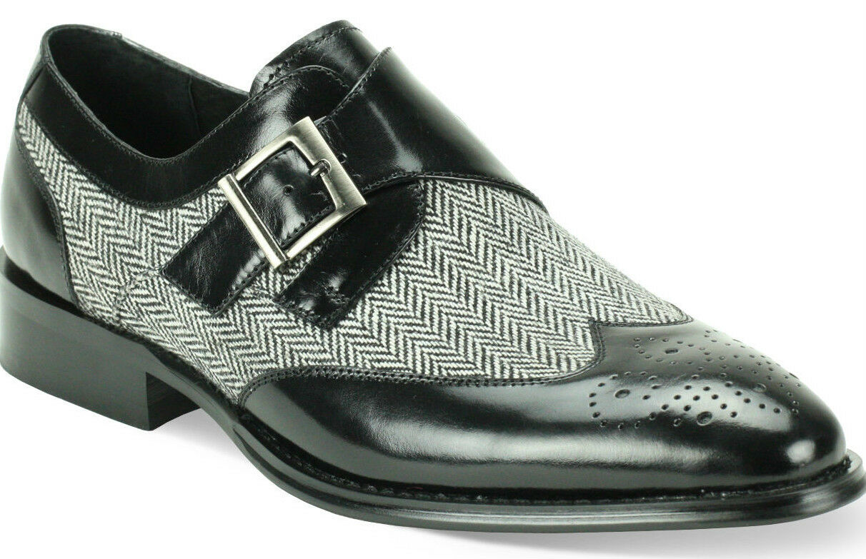 Giovanni Uomo Nero Pelle and Monk Tweed Single Monk and Strap Dress Shoe 6641 2be8ee