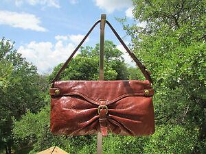 Image Is Loading Kooba Buckle Brown Glazed Leather Shoulder Bag Handbag