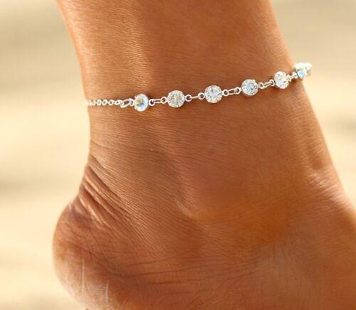 ☆ Silberne FußketteDiamantenDamenLänge 21-26cmSilber Edelmetall ☆