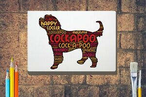 Cockerpoo-Word-Art-Canvas-A4-A3-A2-A1-Mothers-Day-Gift-Personalised-Option