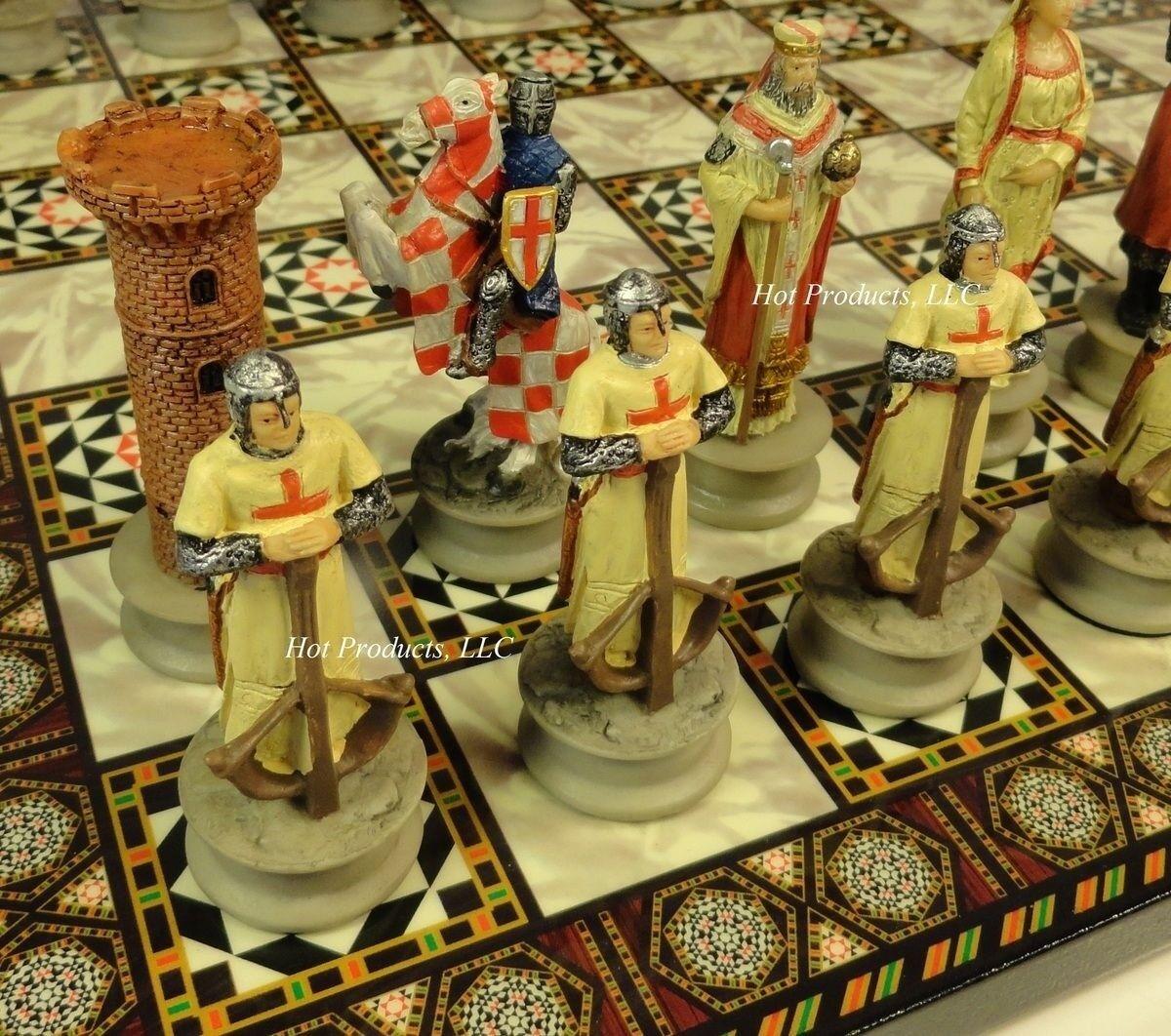 MEDIEVAL TIMES CRUSADES Arabian Vs Christian CHESS SET W MOSAIC DESIGN BOARD 14