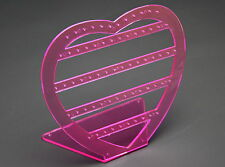 1 x PINK ACRYLIC HEART DROP STUD EARRING JEWELLERY JEWELRY DISPLAY STAND RACK