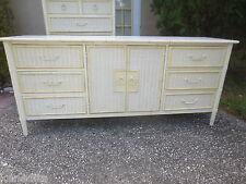 Faux Bamboo Dresser Bureau Credenza Sideboard Buffet Hollywood Regency Wicker