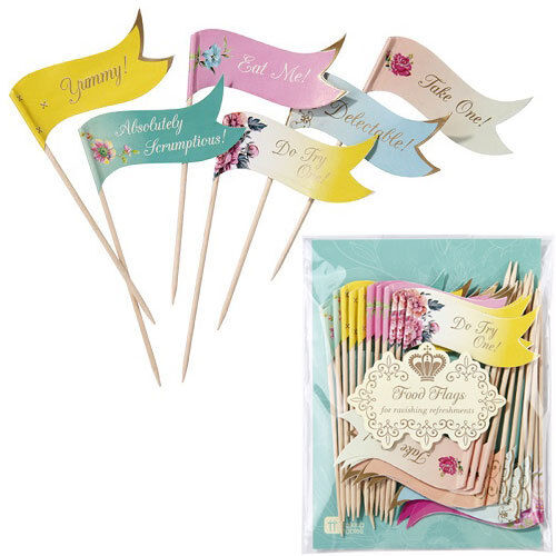 Truly Scrumptious 24x Canape Cupcake Cake Food Flags Picks Vintage Tea Party