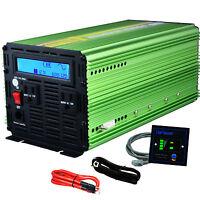 Car Power Inverter 1500W 3000 Watt Pure Sine 12V dc to 110V 120V ac  LCD Remote