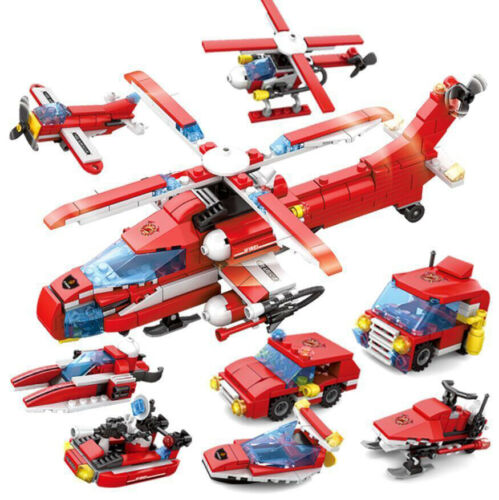 8in1 Feuer Hubschrauber Modell Bausteine Blocks mit Figuren Fahrzeug Spielzeug
