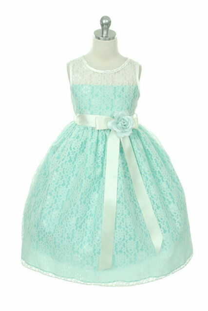 Lace Mint and Ivory Girls Dress Flower Girl Dress Jnr Wedding Bridesmaid Dress