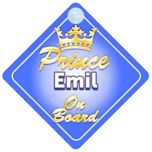 Prince héritier Emil à bord garçon personnalisé Voiture Signe enfant cadeau