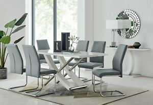 MAYFAIR-White-Grey-High-Gloss-Chrome-Dining-Table-Set-amp-6-Faux-Leather-Chairs