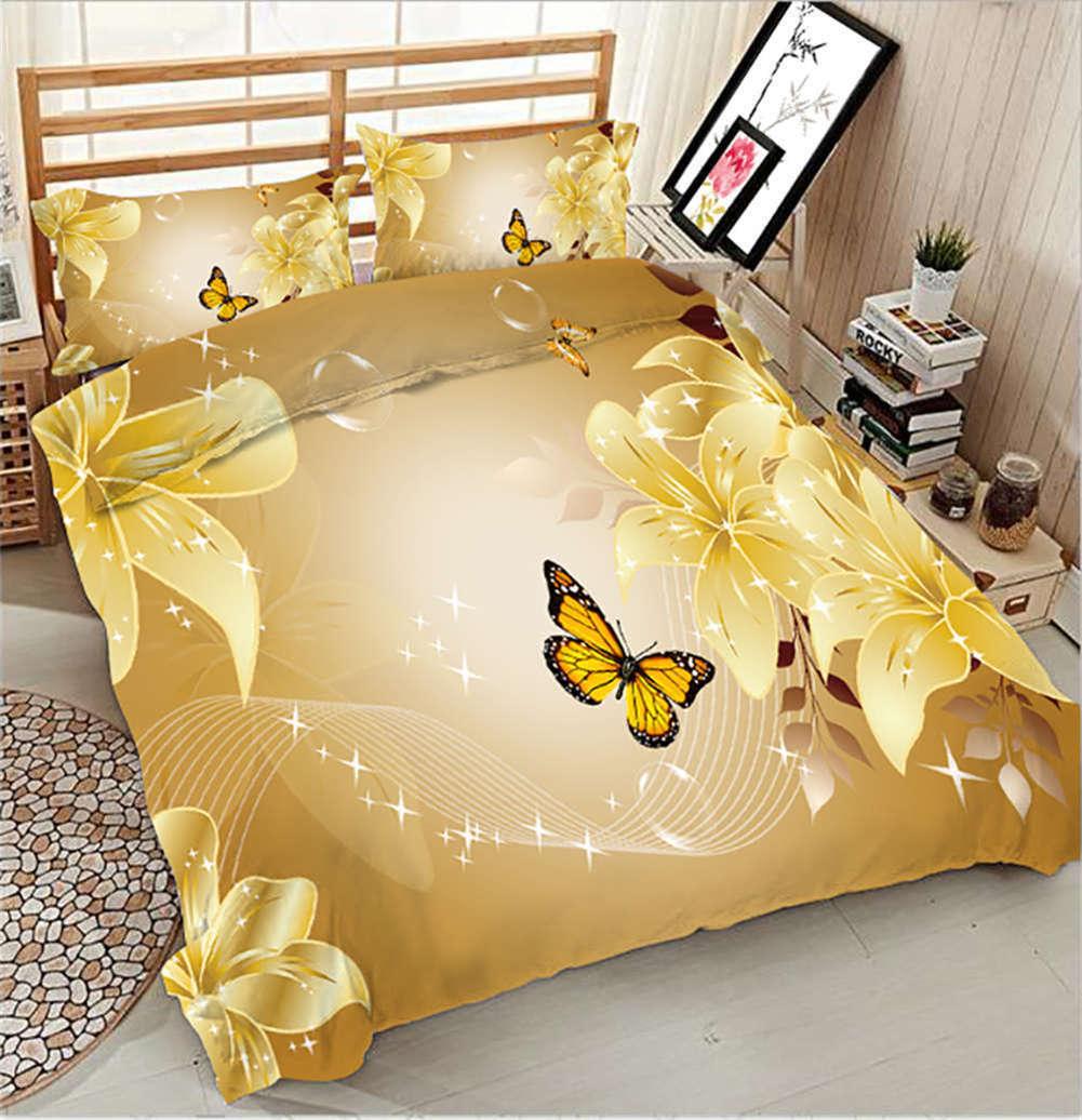 golden Butterfly 3D Printing Duvet Quilt Doona Covers Pillow Case Bedding Sets