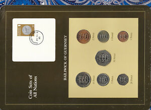 Coin-Sets-of-All-Nations-Guernsey-1979-1983-UNC-1-1981-20-50-Pence-1983-24MR83