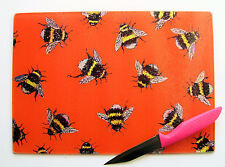 Unique Glass Chopping Board with a BUMBLE BEE  design by artist Maria Moss