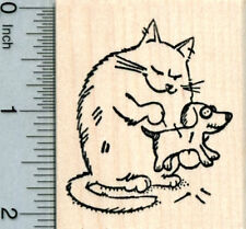Witch Cat Halloween Pets Rubber Stamp Dog and Mouse H30821 WM