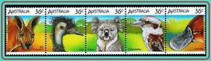 AUSTRALIA-1986-ANIMALS-amp-BIRDS-MNH-KANGAROO-KINGFISHER-KOALA-OSTRICH