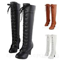 Sommer Damen High Heels Schnürstiefel Victorian Lace Up Boots Stiefel Lederoptik
