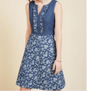 ModCloth-Wow-on-a-whim-una-linea-Vestido-Estampado-Floral-Sin-Mangas-Denim-Chambray