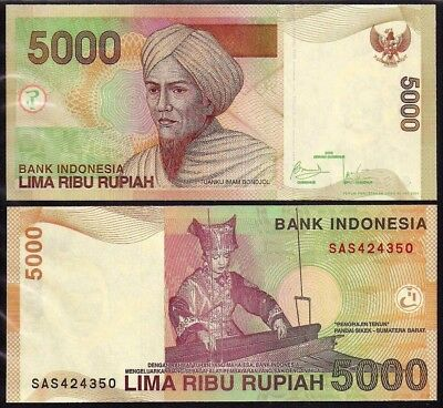 Indonesia Indonesia 5000 Rupiah 2001/2009 P142h Uncirculated Colours Are Striking Asia