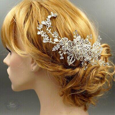 Bridal Hair Comb Pearl Crystal Wedding Jewelry Headpiece Accessory 00655 Silver