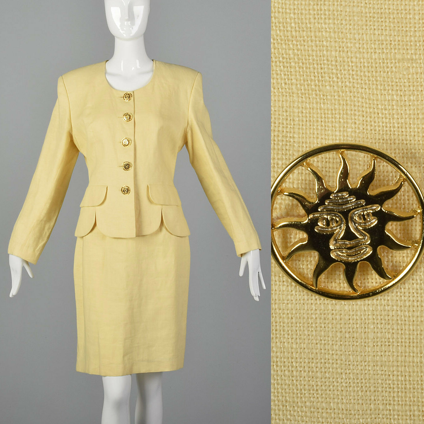 M 1990s Moschino Cheap & Chic Yellow Linen Suit S… - image 1