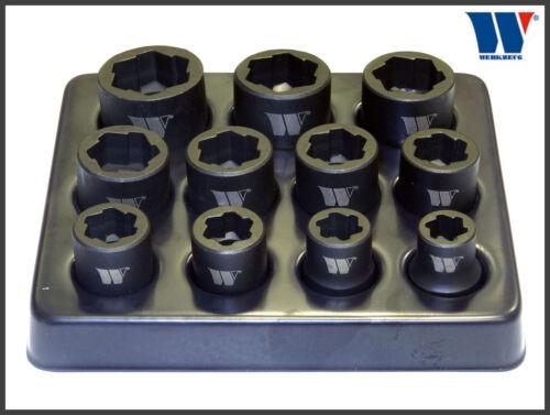 """1085 Werkzeug-anti dérapage extraction sockets 11 pc set 3//8 /""""lecteur 8-19 mm"""