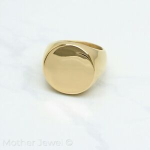 14CT-YELLOW-GOLD-IP-PLAIN-ROUND-CIRCLE-HEAVY-SIGNET-MENS-WOMENS-RING