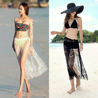 Rare Womens Swimsuit Lace Tunic One-piece Dress Beachwear Bikini Cover Skirt
