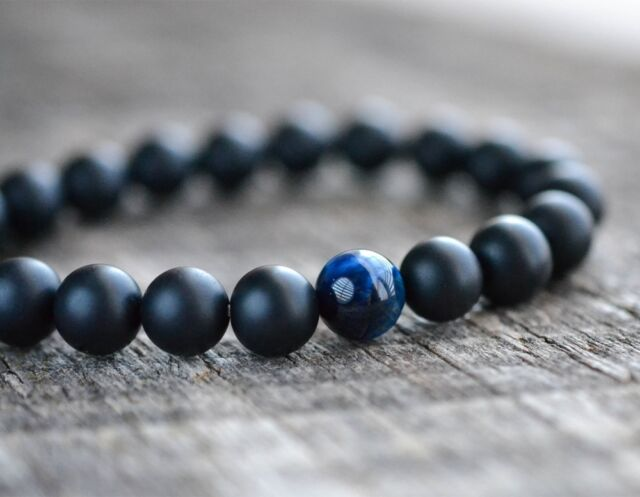Mens Womens 8mm Blue Tiger Eye Matte Onyx Gemstone Beads Yoga Beaded Bracelet