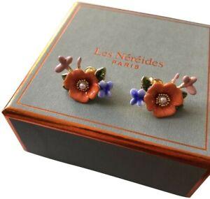 Les Nereides Violet Flower Earrings.