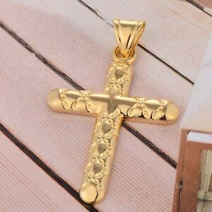 Fashion-Womens-Mens-Yellow-Gold-filled-Cross-pendant-Fit-long-Necklace-lot