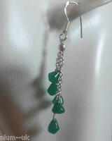 T28 Sterling Silver Drop Dangle Earrings With Emerald Droppers Giftboxed Plum Uk